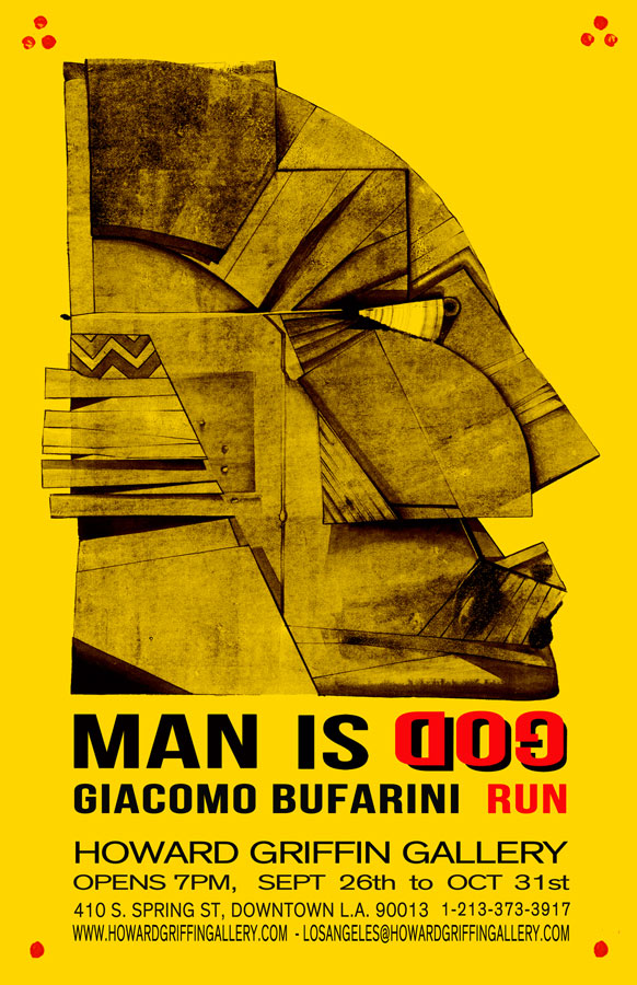 """Run's """" MAN IS GOD"""" opens onSaturday September 26, 2015at the Howard Griffin Gallery in downtown Los Angeles"""